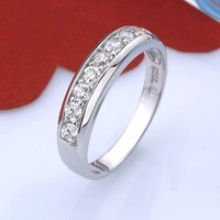Wedding Band Zircon 925 Sterling Silver Simulated Diamond Rings