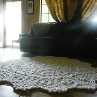 Crochet Doily Lace area rug, White, Cottage Chic- Oversized- shabby chic home decor- round rug- French Country, wedding gift, nursery rug