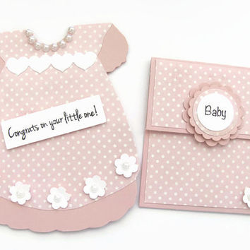 Congrats on Your little One Card, New Baby Girl Card, Pink & White Polka Dot Dress, Card and Gift Card Set