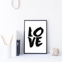 "PRINTABLE ART ""Love"" Poster Art Typography Vintage Print Vintage Poster Modern Art Typography Print Typography Quote Old Fashioned Art Print"