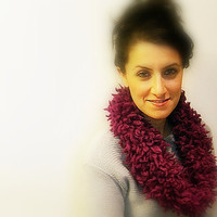Knitted Cowl Scarf, Fluffy Purple Wool Blend, Soft Neck Warmer