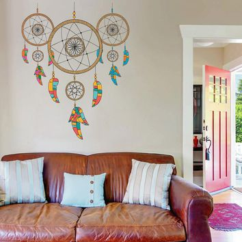 cik153 Full Color Wall decal Dreamcatcher feathers guardian living room children's room
