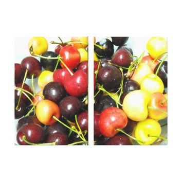 Colorful Mixed Cherries Food Canvas Wall Art
