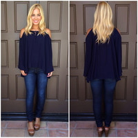 Cynthia Off Shoulder Top - NAVY