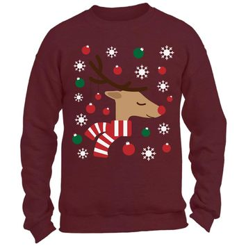 07ade072 Christmas Reindeer Sweatshirt. Reindeer Christmas Lights Ugly Sw