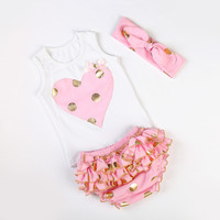 Messy Bow Baby Girls Heart Vest with Gold Polka Dot Knotted Headband Ruffle Bloomers Diaper Cover 3pcs/Set First Birthday Outfit