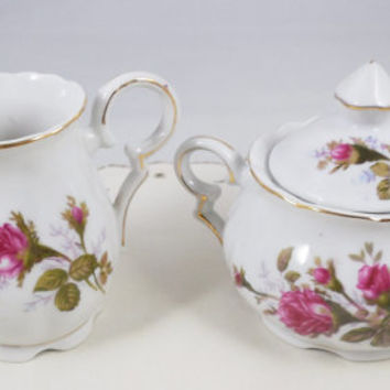 Vintage Rose Creamer and Sugar Bowl, Made in Japan Moss Rose China, Creamer and Sugar Set with Roses, 1950s China made in Japan Unmarked