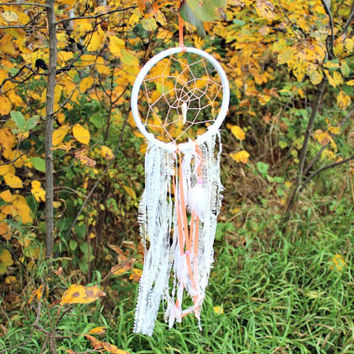 Boho Dreamcatcher, OOAK, Home Decor, Coral, White, Nursery Mobile, Wedding Decor, Gift Idea for women