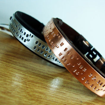 FREE SHIPPING - 2 PSC Latitude Longitude Bracelet. Personalized Bracelet, Men's leather bracelet, Copper and Aluminium Plate, Men Gift.