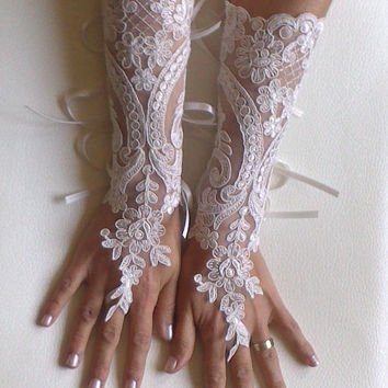 Long Ivory Wedding gloves free ship bridal lace fingerless french lace arm warmers mittens cuff gauntlets fingerloop, Long lace glove
