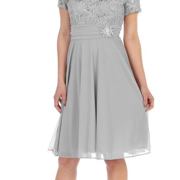 CLEARANCE - Knee Length Silver Dress With Short Sleeves Lace Bodice (Size Large)