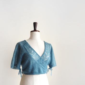 Patina mint knitted bolero jacket, vintage lace shrug, merino wool bolero