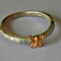 butterfly stacking ring, hammered silver and solid gold