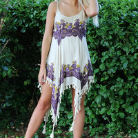 Lana Purple & Tan Paisley Print Handkerchief Tassel Dress