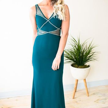 Shades Of Cool Teal Mesh Detail Gown