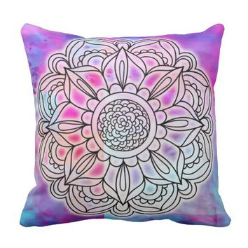 Cotton Candy Glow Mandala Throw pillow