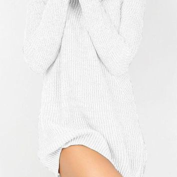 White High Neck Long Sleeve Loose Knit Sweater Mini Dress
