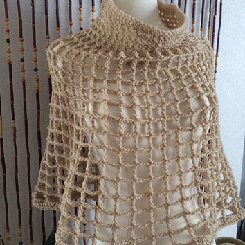 FREE SHIPPING - Crochet Cowl Poncho, Cape, Shawl, Wrap, Shrug, Shoulder Warmer - Tan, Beige, Nude, Brown