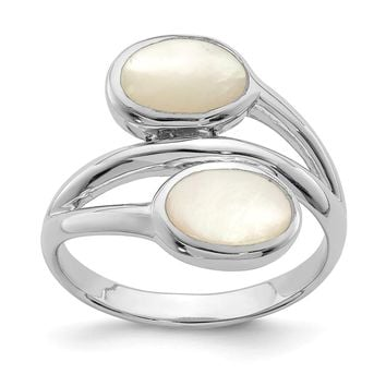925 Sterling Silver Rhodium-plated Polished Mother of Pearl Ring