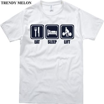 Trendy Melon T-shirt Men Eat Sleep Lift Cool Funny Print Tee Shirts Novelty Short Sleeve Cotton Tops Hipster Clothing MAA27
