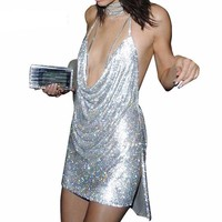 Sexy Backless Sequin Halter Deep V Neck Dress