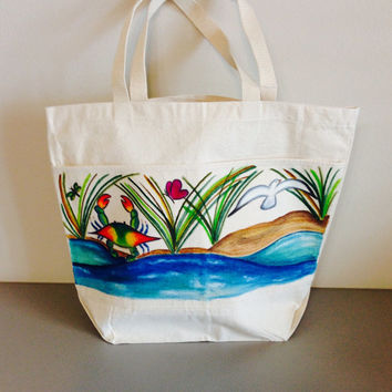 Beach Tote Bag with Hand Painted Blue Crab and Water