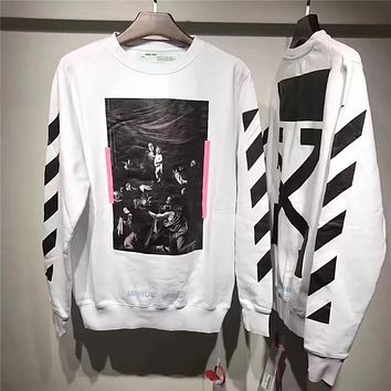 OFF-WHITETROND LIFE Religious Printing Arrow Sweater S-XL