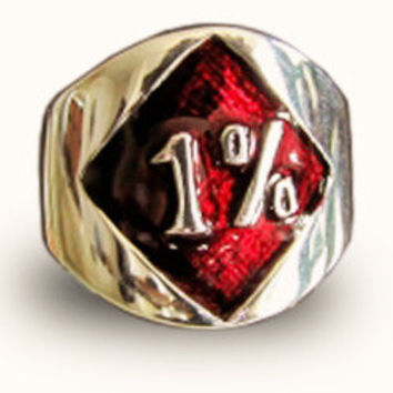1er Outlaw Biker Ring Red Diamond Band Ring 1 Percent Bronze and Red Enamel