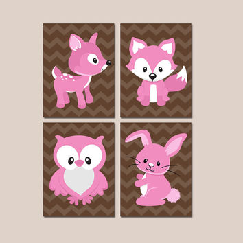 GIRL WOODLAND Wall Art CANVAS or Prints Girl Nursery Forest Animals Fox Bunny Owl Deer Brown Chevron Set of 4 Baby Bedroom Decor