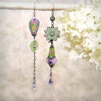 In the Garden - Romantic OOAK Earrings, Artisan Clay Bead, Heart, Flower, Lampwork, Lavender Periwinkle Purple Teal Green, Romantic Bohemian