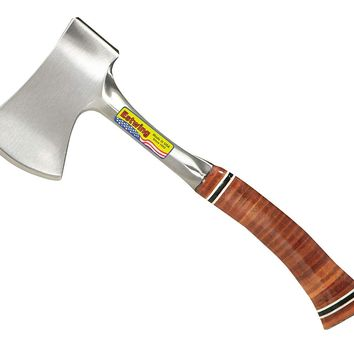 "Estwing Sportsman's Axe - 12"" Camping Hatchet with Forged Steel Construction & Genuine Leather Grip - E14A"