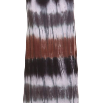 Brown & Gray Striped Color Block HAND DYED Tie Dye Maxi Skirt