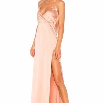 Peach Open Back Halter Maxi Dress