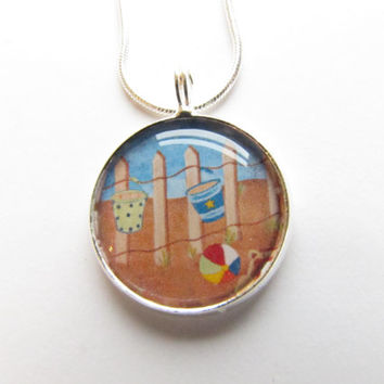 Beach Necklace -handpainted,artist,sand buckets,ocean,beach ball,summer,vacation ,sea