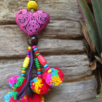 Pink Embroidered Heart Pom Pom Bells Key Ring Bag Charm Hill Tribe Ibiza Indie