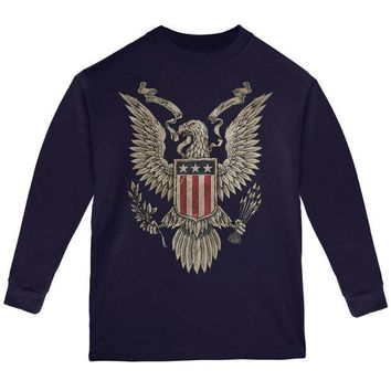 DCCKU3R 4th July Born Free Vintage American Bald Eagle Youth Long Sleeve T Shirt