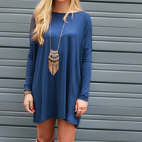 Ellington Navy Long Sleeve Piko Dress