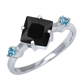 1.66 Ct Princess Black Onyx Swiss Blue Simulated Topaz 925 Sterling Silver Ring