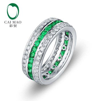 Full Eternity Classic 1.10ct H SI Natural Diamond & 1.00ct Emerald 18K White Gold Engagement Wedding Band