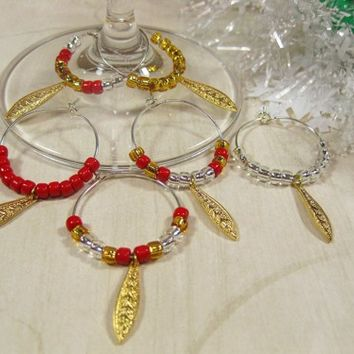 Wine Glass Charms, Set of 6 Gold Leaves with Red Silver and Gold Beads
