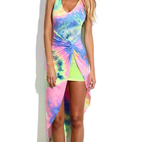 Multicolor Gradient Sleeveless Keyhole Back Knotted Asymmetric Dress