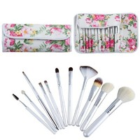 Professional Traveling Soft Cosmetic Makeup Brush Set with 12pcs Pearl white wooden handle Brushes + Flower Leather Bag Case