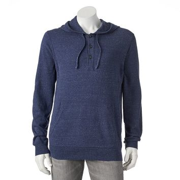 SONOMA life + style Classic-Fit Solid Fine Gauge Henley Hoodie