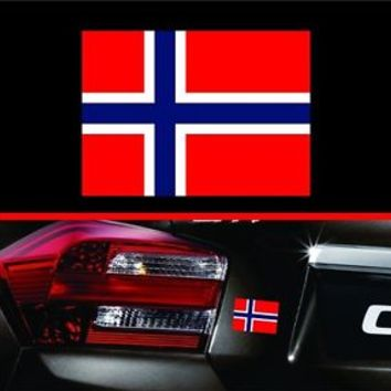 "4"" Norwegian Flag Vinyl Decal Bumper Sticker Norway Self Adhesive Macbook Car"