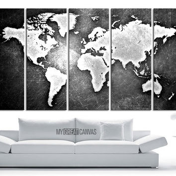 WORLD MAP on Metal Iron Background  Canvas Print - World Map 5 Piece Canvas Art Print - Ready to Hang - 5 Color World Map