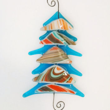 Fused Glass Christmas Tree - Blue  Orange Glass Tree - Southwestern - Christmas Ornament - Glass Christmas Tree - Christmas Decor- Glass Art