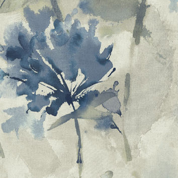 Floral Watercolor Wallpaper in Blues, Neutrals, and Metallic design by Seabrook Wallcoverings