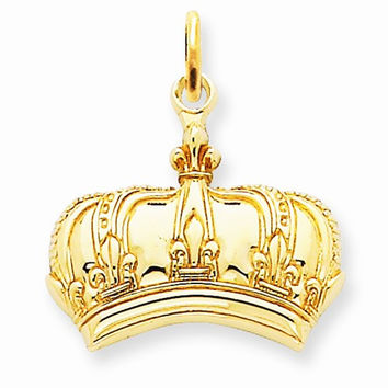 14k Yellow Gold Fleur De Lis Crown Charm