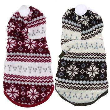 Cozy Coral Fleece Pet Dog Hoodie Coat Snowflake Soft Dog Clothes Pet Christmas Costume Winter Warm Puppy Dog Jacket Pet Coat