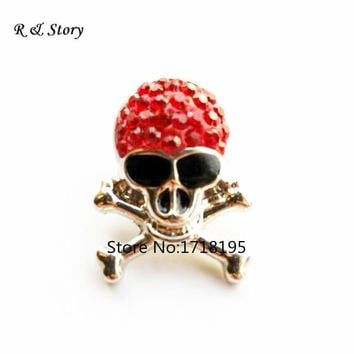 Snap Buttons Fit DIY Press Bracelets Red Rhinestone Skull Snap Button Charms New 2017
